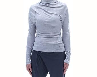 Arya Yoga Twisted Gray Top/ Yoga Wear / Asymmetrical Yoga Top / Handmade Casually Top / Long Sleeved Blouse by AryaSense