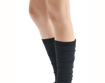 Black Yoga Spats/ Yoga Leg Warmers/ Black Yoga Socks/ Unisex Yoga Spats/ Yoga Accessories by AryaSense/ SPT12BL