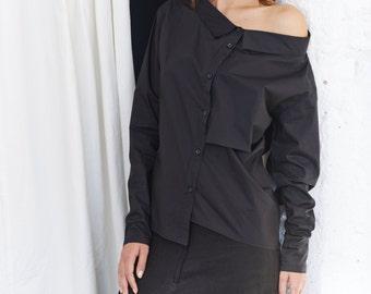 Oversized Black Shirt / Black Off Shoulder Shirt / Long Sleeved Cotton Shirt / Asymmetrical Button-down Shirt by AryaSense/ SHR14BL