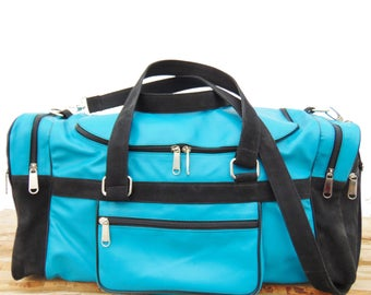 Womens & Mens Turquoise Leather Duffel Luggage Blue Bag, Monogrammed Personalized Travel Weekend Luggage Bag