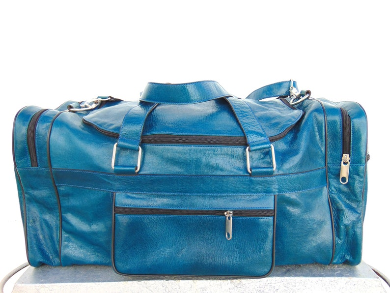29129133a1 Blue Turquoise Leather Duffel Travel Luggage Bag for Mens