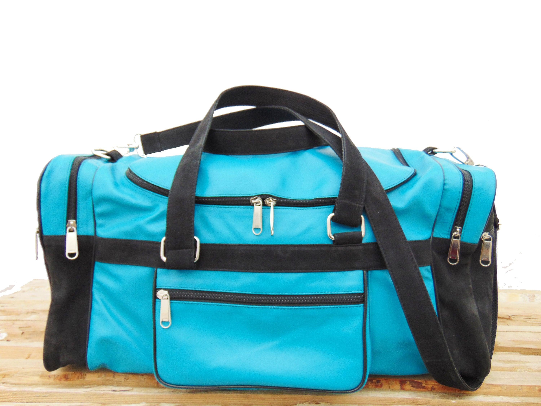 2f726895dd Womens   Mens Turquoise Leather Duffel Luggage Blue Bag