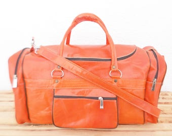 Womens Orange Leather Duffel Luggage Bag, Travel Weekend Leather Bag, Personalized Monogrammed Leather Bag