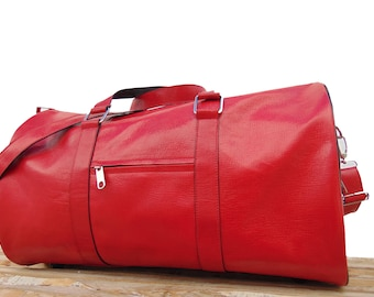 Womens Red Leather Duffel Bag, Womens Sports Travel Weekend Overnight Bag, personalized engraved monogram leather bag