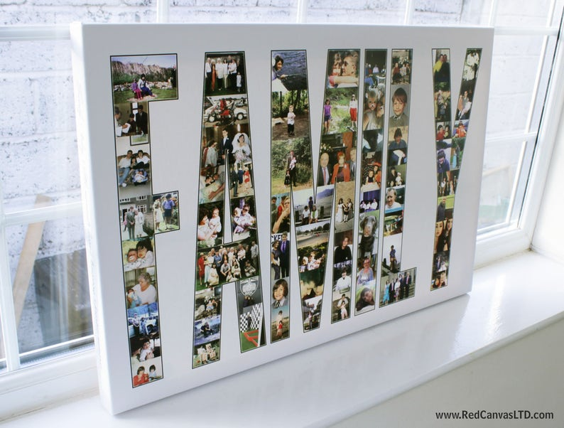 c64b3e8d00 FAMILY Photo Collage Canvas Print Personalised with Text