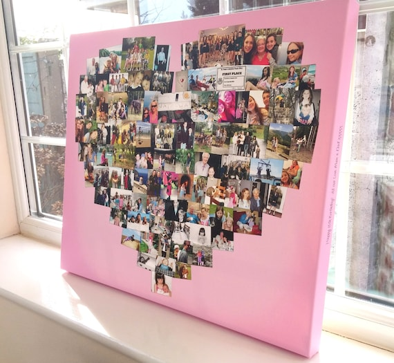 Heart Photo Collage Canvas Personalised Heart Shape Print Etsy