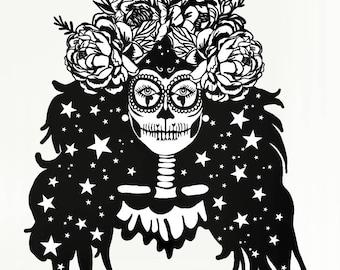 sugar skull papercut etsy