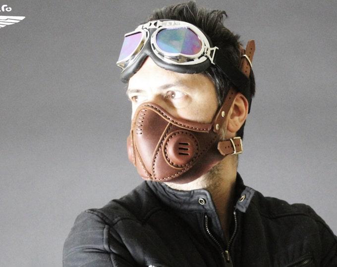 STEAMPUNK MASK leather respirator Halloween apocalypse gear LARP cosplay cybergoth cyberpunk