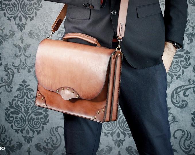 Leather Briefcase - Messenger Bag - Leather Bag - Hand made Bag - Business Leather Bag