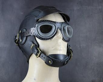 Aviator Hat - Steampunk Helmet - Leather Cap