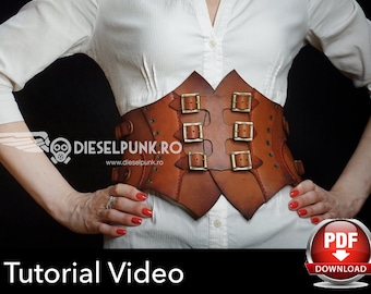 Corset Pattern - Steampunk Corset DIY - Leather Corset Template - PDF Download