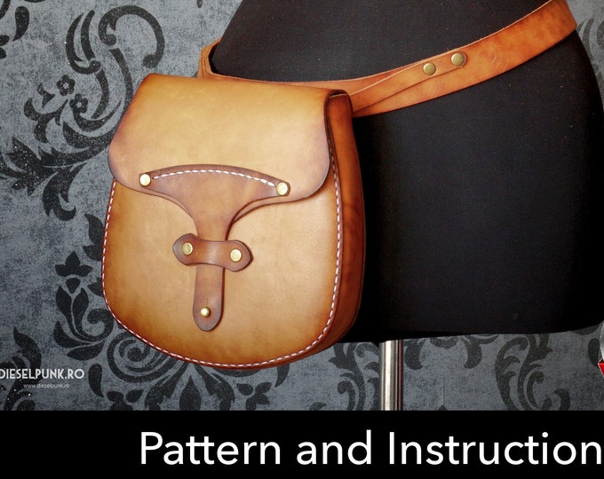 Pouch Pattern - Leather DIY - Bag PDF Download - Leather Pattern - Hip Bag Pattern - Pouch Pattern - Purse Pattern