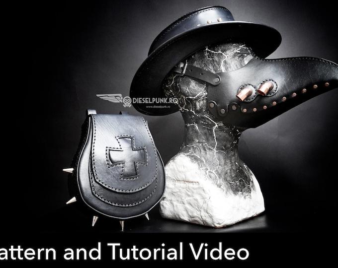 Halloween Pattern Set - Leather Hat PATTERN - Pouch Pattern - Mask Pattern - Pdf Download - VIDEO tutorial