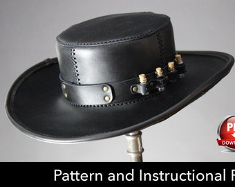 Leather Hat PATTERN - DIY Pattern - Steampunk hat DIY - Pdf Download - Plague Doctor Hat