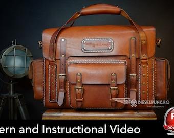 Bag Pattern - Pdf Download - Leather DIY - Explorer Bag - Video Tutorial b504a434ee