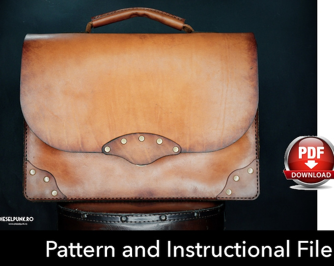 Briefcase Pattern - Leather DIY - Pdf Download - Leather Pattern - Briefcase Template - Leather Bag Pattern - Bag Template - Business Bag