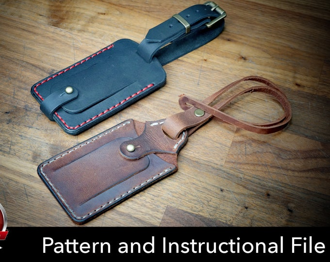 Luggage Tag Pattern - Leather DIY - Pdf Download