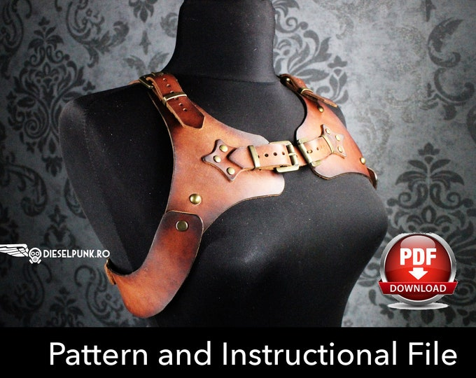 Harness Pattern - Cosplay DIY - Pdf Download - Cosplay Harness - Harness Templates - Leather Template