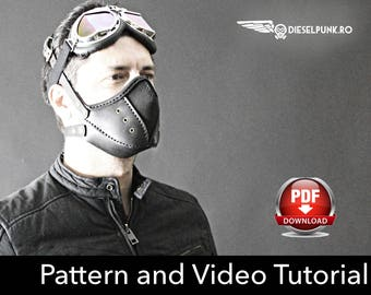 Steampunk Mask Pattern - DIY Pattern - Halloween Mask DIY - Leather mask DIY - Pdf Download