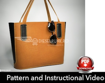 e19f9b8e9d Tote Bag Pattern - Leather DIY - Pdf Download - Leather Bag Pattern - Tote  Bag Pattern - Shopping Bag Pattern - Bag Template