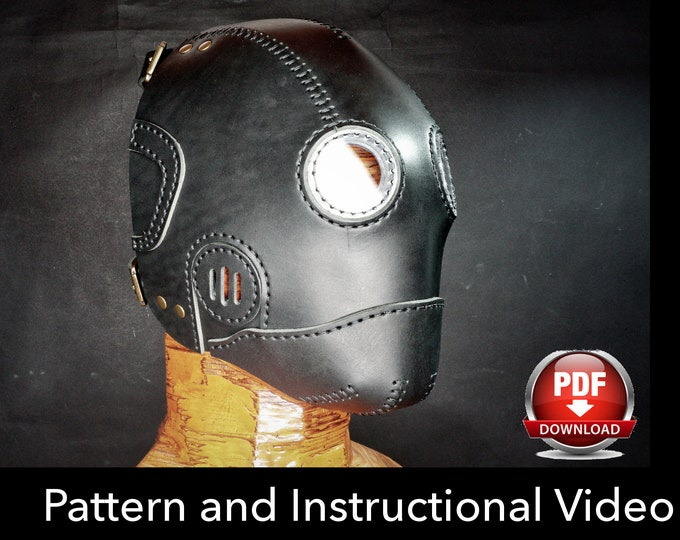 Steampunk Mask Pattern - DIY Pattern - Halloween Mask DIY - Leather mask DIY - Pdf Download - Mask Template