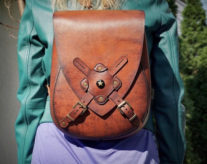 Leather Backpack - Leather Messenger Bag - Hand made Bag - Ruksack