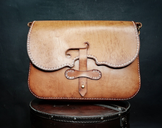 Violin Bag - Leather Bag - Hand made Bag - Messenger Bag