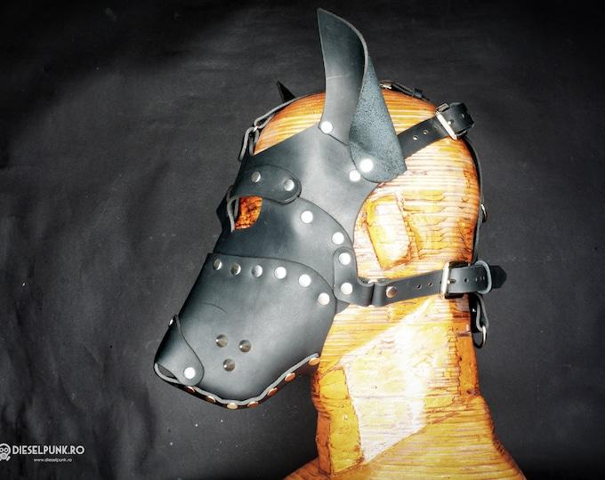 Leather Dog Mask - Fetish Mask - Slave Mask - Sex Mask - BSDM Mask - pup play mask - pup hood - Bully Mask - Bull Terrier Mask