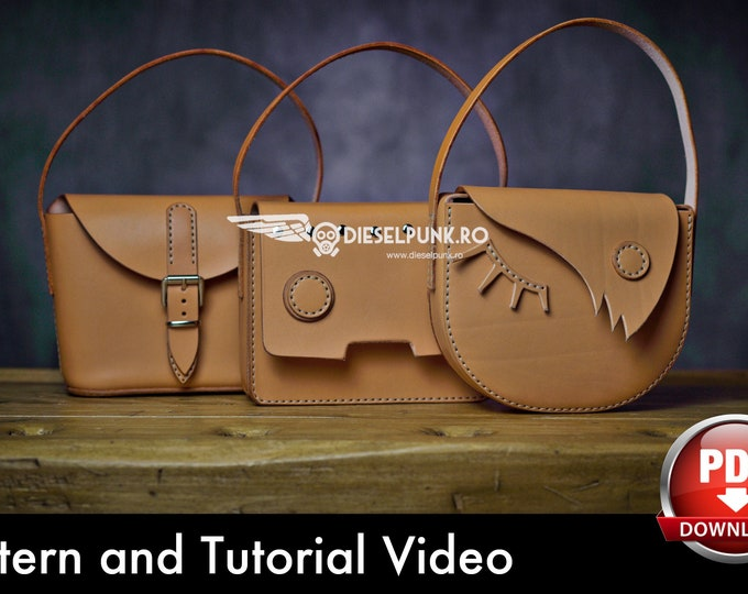 Small Leather Bags Pattern - Pattern Set - Leather DIY - Pdf Download - Leather Bag - Video Tutorial