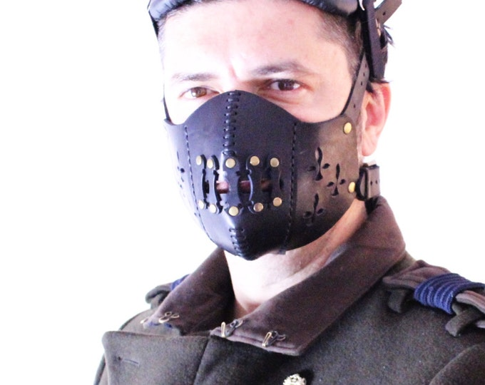 Steampunk Mask - Leather Mask - Burning Man - Halloween Mask - Mouth Mask - LARP - Cyberpunk mask - cosplay - post apocalyptic - gas mask