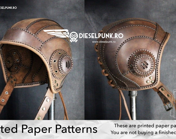Aviator Cap Pattern - PAPER Pattern - Aviator Hat Leather Template