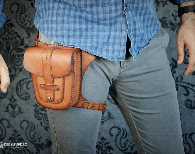 Hip Bag - Leather Bag - Hand made Bag - Pouch Bag - Leg Bag