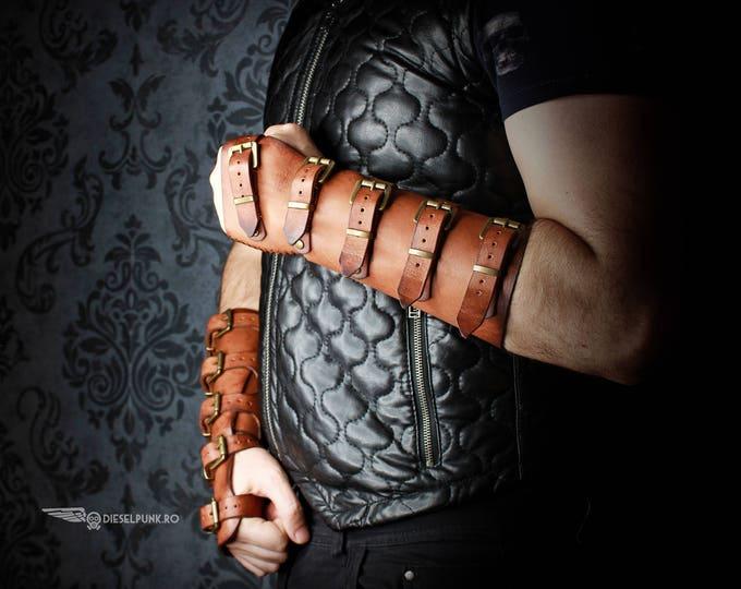 Leather Bracer - Steampunk Hand Armor - Leather Armor - Hand Armour