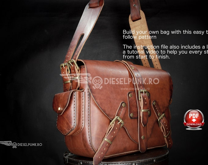 Bag Pattern - Leather DIY - Pdf Download - Ladies Bag - Video Tutorial