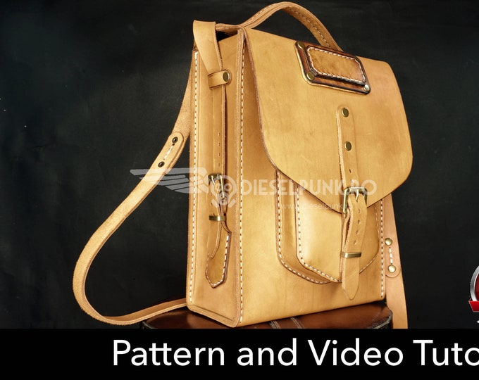 Bag Pattern - Leather DIY - Pdf Download - Messenger Bag - Video Tutorial
