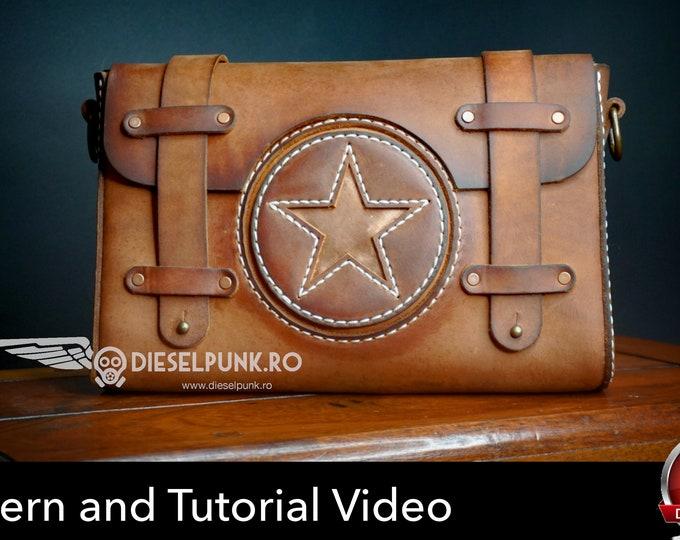 Messenger Bag Pattern - Leather DIY - Pdf Download - Leather Bag Pattern - Leather Bag Template - Bicycle Bag Pattern - Bag Template