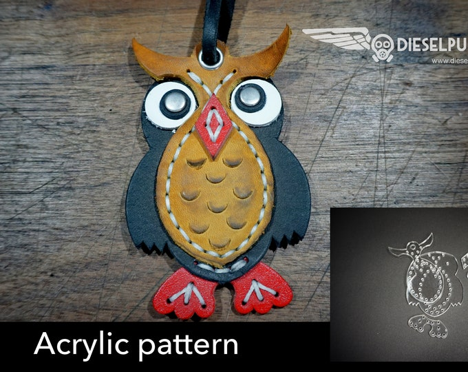 Owl Charm acrylic templates - Acrylic pattern - laser cut pattern - Leather Charm Template