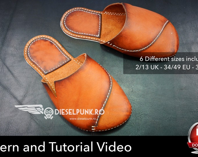 Slippers Pattern - Leather DIY - Pdf Download - Flip Flop pattern - Video Tutorial