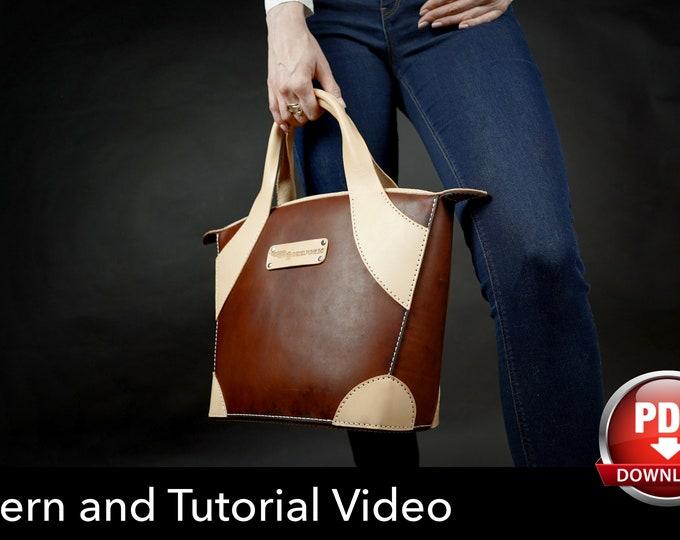 Ladies Bag Pattern - Leather DIY - Pdf Download - Leather Bag Pattern - Bag Pattern - Shopping Bag Pattern - Bag Template