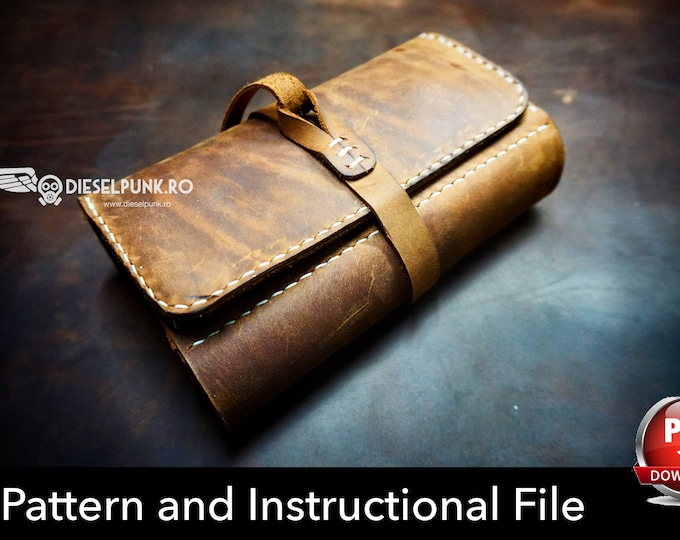 Pipe Case Pattern - Leather DIY - Pdf Download - Pipe Pouch Template - Leather Gift DIY