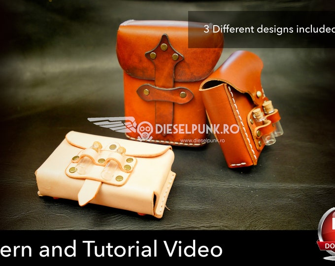 Leather Pouch Pattern Set - Leather DIY- Pdf Download - Video Tutorial