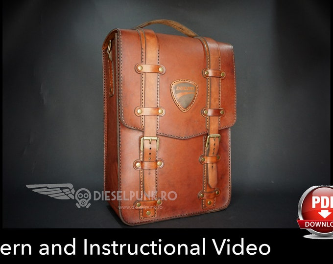 Backpack Pattern - Leather DIY - Pdf Download - Leather Bag - Video Tutorial