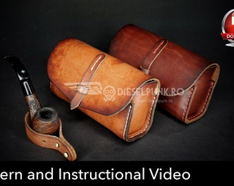 pipe case pattern leather diy pdf download glasses case template video tutorial leather gift diy