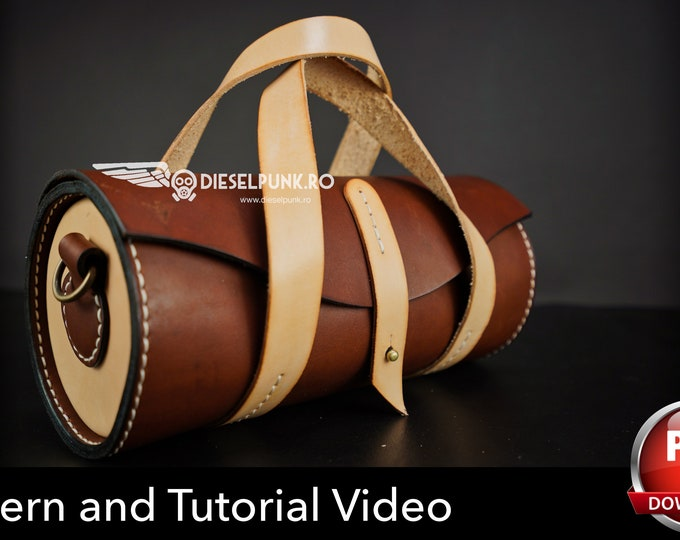 Round Leather Bag Pattern - Leather DIY - Pdf Download - Boules Bag Template - Video Tutorial - Leather Gift DIY
