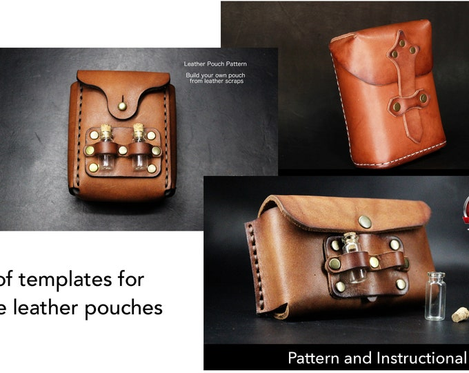 Leather Pouch Pattern Set - Leather DIY- Pdf Download