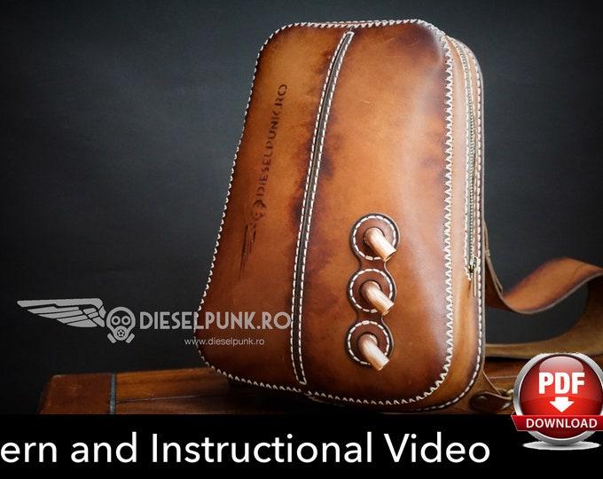Sling Bag Pattern - Leather DIY - Pdf Download - Leather Pattern - Backpack Pattern - Bag Pattern - Crossbody Backpack - Video Tutorial