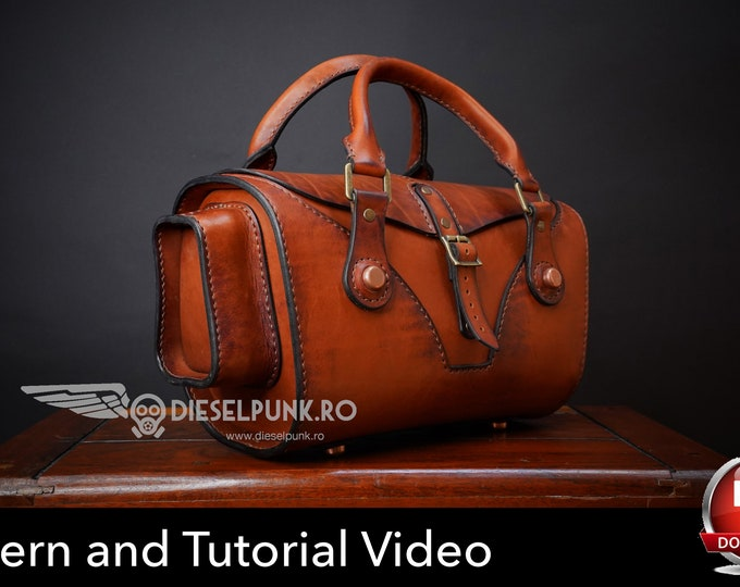 Hand Bag Pattern - Leather DIY - Pdf Download - leather bag pattern - Video Tutorial