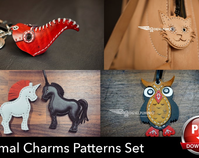 Charm Set Pattern - Owl - Horse - Dragonfly - Plague Doctor - Cat - Pdf Download