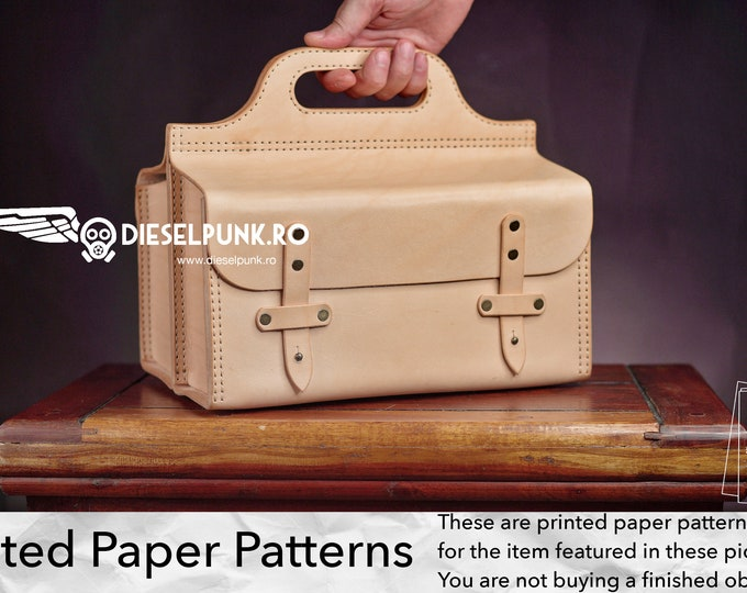Tool Bag Pattern - Printed Paper Patterns - Leather DIY - Leather Bag - Video Tutorial