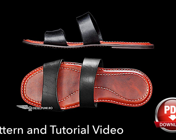 Flip Flops Pattern - Leather DIY - Pdf Download - Sandals pattern - Video Tutorial